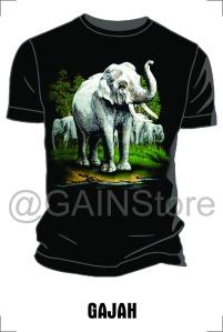 Kaos Sablon gambar gajah bahan cardet soft 24s