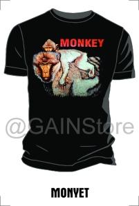 Kaos Sablon gambar monyet bahan cardet soft 24s