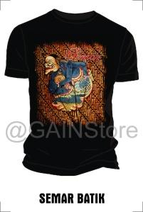 Kaos Sablon gambar semar batik bahan cardet soft 24s
